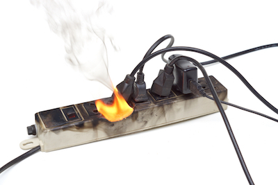 power bar surge protector on fire